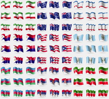 martin: Iran, Wyspy Cooka, Krym, Saint Martin, Puerto Rico, Gwatemala, Azerbejdżan, Serbia, Tatarstan. Duży zestaw 81 flag. Ilustracji wektorowych
