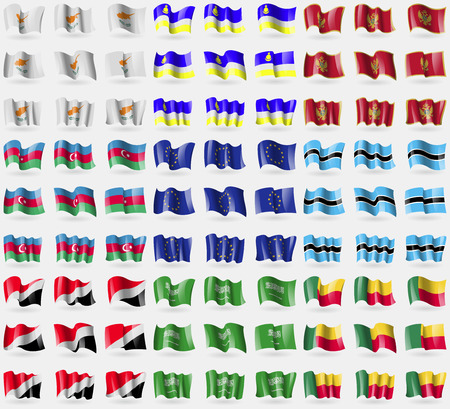 sealand: Cyprus, Buryatia, Montenegro, Azerbaijan, European Union, Botswana, Sealand Principality, Saudi Arabia, Benin. Big set of 81 flags. Vector illustration