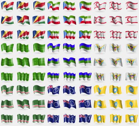 guinea equatoriale: Seychelles, Guinea Equatoriale, Cipro turca del Nord, Ladonia, Komi, VirginIslandsUS, Repubblica Cecena di Ichkeria, Isole Cook, Kalmykia. Grande insieme di 81 bandiere. Illustrazione vettoriale