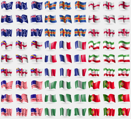 81: Cook Islands, Aland, England, Herm, France, Iran, Bikini Atoll, Nigeria, Portugal. Big set of 81 flags. Vector illustration Illustration