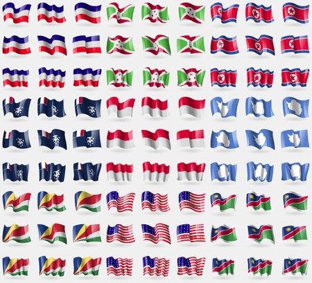 atoll: Los Altos, Burundi, North Korea, French and Antarctic, Monaco, Antarctica, Seychelles, Bikini Atoll, Namibia. Big set of 81 flags. Vector illustration