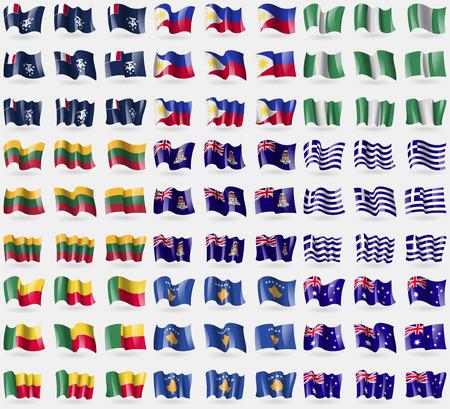 cayman: Fran�ais et de l'Antarctique, les Philippines, le Nigeria, la Lituanie, les �les Ca�mans, la Gr�ce, le B�nin, le Kosovo, l'Australie. Big set de 81 drapeaux. Vector illustration