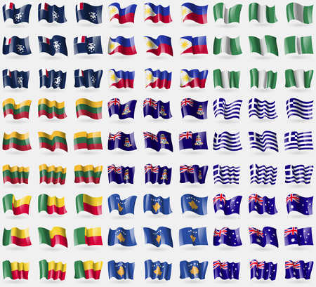 antarctic: French and Antarctic, Philippines, Nigeria, Lithuania, Cayman Islands, Greece, Benin, Kosovo, Australia. Big set of 81 flags. Vector illustration Illustration