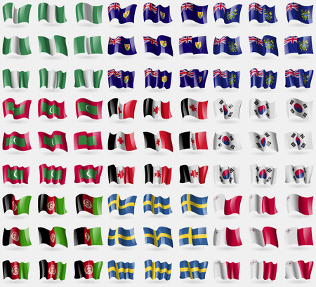 Nigeria, Tusk and Caicos, Pitcairn Islands, Maldives, Udmurtia, South Korea, Afghanistan, Sweden, Malta. Big set of 81 flags. Vector illustration
