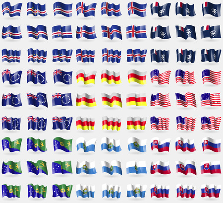 antarctic: Cape Verde, Iceland, French and Antarctic, Cook Islands, North Ossetia, Bikini Atoll, Christmas Islands, San Marino, Slovakia. Big set of 81 flags. Vector illustration Illustration