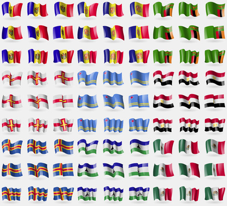 guernsey: Moldova, Andorra, Zambia, Guernsey, Aruba, Egypt, Aland, Lesothe, Mexico. Big set of 81 flags. Vector illustration Illustration