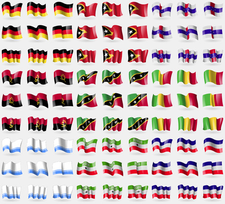 altai: Germany, East Timor, Netherlands Antilles, Angola, Saint Kitts and Nevis, Mali, Altai Republic, Somaliland, Los Altos. Big set of 81 flags. Vector illustration
