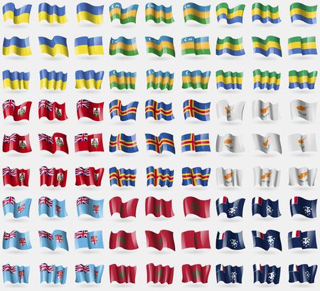 fiji: Ukraine, Karakalpakstan, Gabon, Bermuda, Aland, Cyprus, Fiji, Morocco, French and Antarctic. Big set of 81 flags. Vector illustration Stock Illustratie