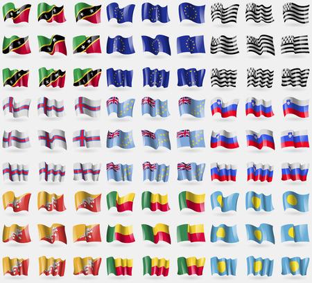 european culture: Saint Kitts and Nevis, European Union, Brittany, Faroe Islands, Tuvalu, Slovenia, Bhutan, Benin, Palau. Big set of 81 flags. Vector illustration