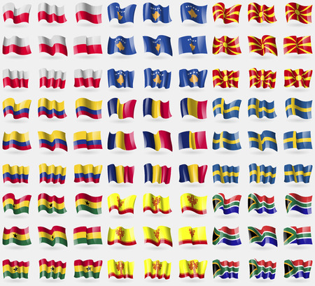 republic of colombia: Poland, Kosovo, Republic of Macedonia, Colombia, Chad, Sweden, Ghana, Chuvashia, South Africa. Big set of 81 flags. Vector illustration