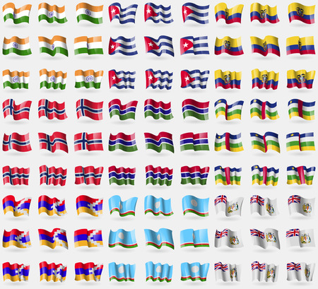 antarctic: India, Cuba, Ecuador, Norway, Gambia, Central African Republic, Karabakh Repulic, Sakha Republic, British Antarctic Territory. Big set of 81 flags. Vector illustration