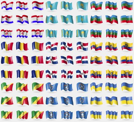 republic of ecuador: Mordovia, Kazakhstan, KarachayCherkessia, Romania, Dominican Republic, Ecuador, Congo Republic, Marianna Islands, Ukraine. Big set of 81 flags. Vector illustration