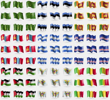 sri: Adygea, Estonia, Sri Lanka, Mongolia, Nicaragua, Cape Verde, Western Sahara, VirginIslandsUS, Mali. Big set of 81 flags. Vector illustration