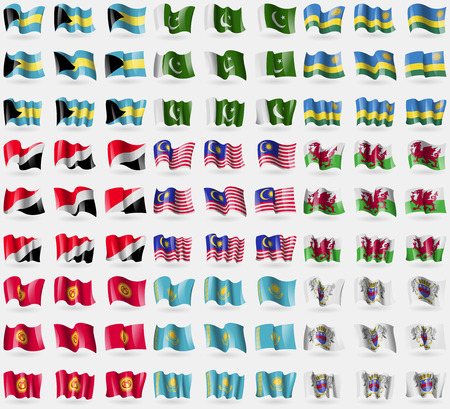 sealand: Bahamas, Pakistan, Rwanda, Sealand Principality, Malaysia, Wales, Kyrgyzstan, Kazakhstan, Saint Barthelemy. Big set of 81 flags. Vector illustration