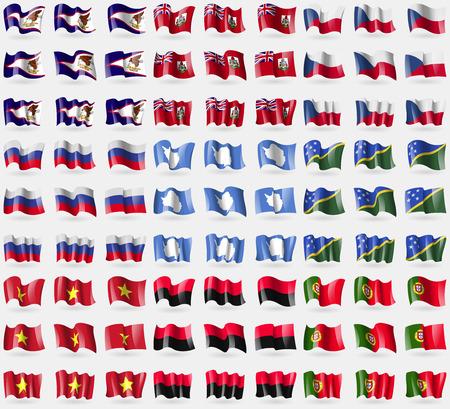 samoa: American Samoa, Bermuda, Czech Republic, Russia, Antarctica, Solomon Islands, Vietnam, UPA, Portugal. Big set of 81 flags. Vector illustration