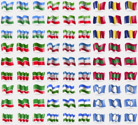antartide: KabardinoBalkaria, Somaliland, Romania, Tatarstan, Mari El, Maldive, Repubblica Cecena, Bashkortostan, Antartide. Grande insieme di 81 bandiere. Illustrazione vettoriale