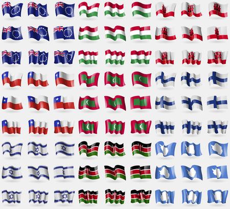 antartide: Isole Cook, Ungheria, Gibilterra, Cile, Isole Maldive, Finlandia, Israele, Kenia, Antartide. Grande insieme di 81 bandiere. Illustrazione vettoriale