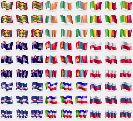 cayman: Grenada, Ireland, Mali, Cayman Islands, Mongolia, Poland, Cape Verde, Khakassia, Russia. Big set of 81 flags. Vector illustration