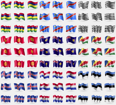 brittany: Mauritius, Congo Democratic Republic, Brittany, Kyrgyzstan, Turks and Caicos, Seychelles, Iceland, Paraguay, Estonia. Big set of 81 flags. Vector illustration Illustration