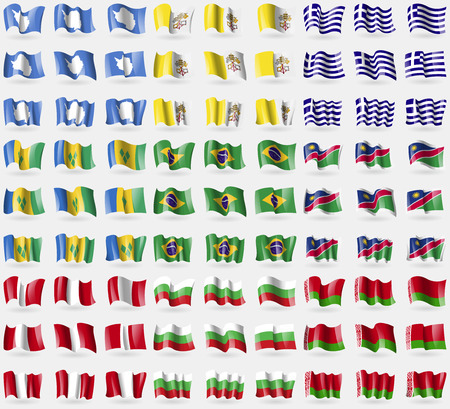 antartide: Antartide, Vaticano CityHoly See, Grecia, Saint Vincent e Grenadine, Brasile, Namibia, Per�, Bulgaria, Bielorussia. Grande insieme di 81 bandiere. Illustrazione vettoriale