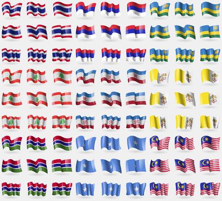 republika: Thailand, Republika Srpska, Rwanda, Lebanon, Mari El, Vatican CityHoly See, Gambia, Somalia, Malaysia. Big set of 81 flags. Vector illustration