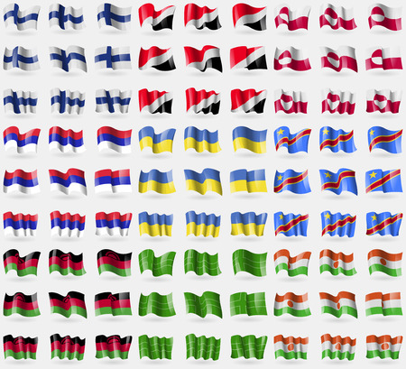 principality: Finland, Sealand Principality, Greenland, Republika Srpska, Ukraine, Congo Democratic Republic, Malawi, Ladonia, Niger. Big set of 81 flags. Vector illustration