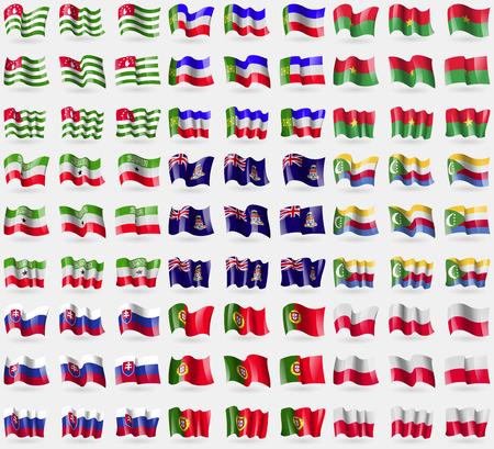 cayman: Abkhazia, Khakassia, Burkia Faso, Somaliland, Cayman Islands, Comoros, Slovakia, Protugal, Poland. Big set of 81 flags. Vector illustration