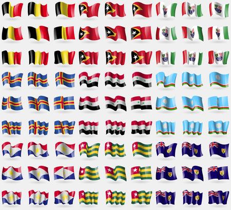 the turks: Belgium, East Timor, Bosnia and Herzegovina Federation, Aland, Syria, Sakha Repablic, Saba, Togo, Turks and Caicos. Big set of 81 flags. Vector illustration