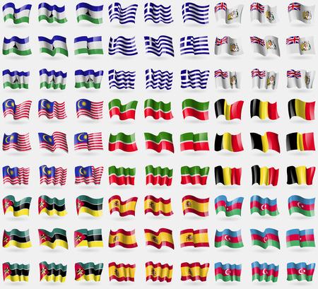 antarctic: Lesothe, Greece, British Antarctic Territory, Malaysia, Tatarstan, Belgium, Mozambique, Spain, Azerbaijan. Big set of 81 flags. Vector illustration