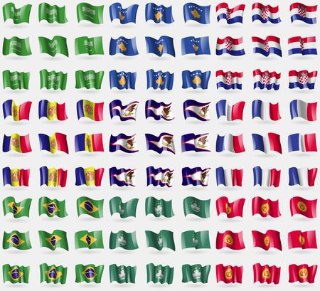 macau: Saudi Arabia, Kosovo, Croatia, Andorra, American Samoa, France, Brazil, Macau, Kyrgyzstan. Big set of 81 flags. Vector illustration Illustration