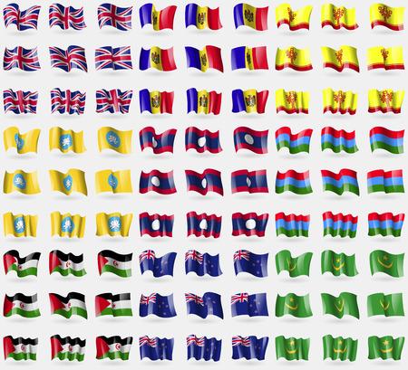 new zeland: United Kingdom, Moldova, Chuvashia, Kalmykia, Laos, Karelia, Western Sahara, New Zeland, Mauritania. Big set of 81 flags. Vector illustration Illustration