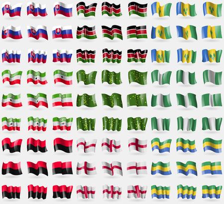 somaliland: Slovakia, Kenya, Saint Vincent and Grenadines, Somaliland, Adygea, Nigeria, UPA, England, Gabon. Big set of 81 flags. Vector illustration Illustration