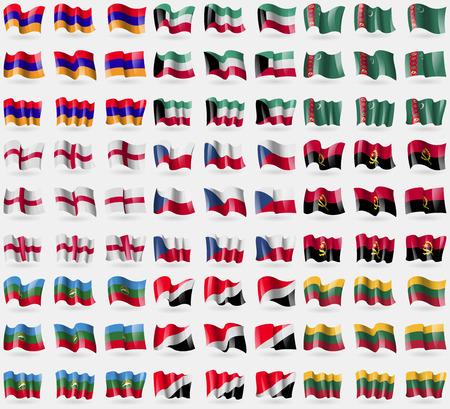 sealand: Armenia, Kuwait, Turkmenistan, England, Czech Republic, Ancgola, Karachay Cherkessia, Sealand Principality, Lithuania. Big set of 81 flags. Vector illustration