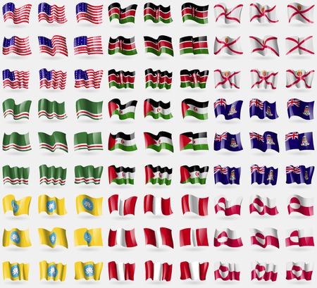 republic of peru: Bikini Atoll, Kenya, Jersey, Chechen Republic of Ichkeria, Western Sahara, Cayman Islands, Kalmykia, Peru, Greenland. Big set of 81 flags. Vector illustration Illustration