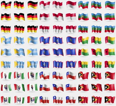 indonesia culture: Germany, Indonesia, KarachayCherkessia, Tuva, Guam, GuineaBissau, Bosnia and Herzegovina Federation, Chile, East Timor. Big set of 81 flags. Vector illustration Illustration