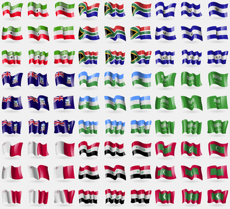 somaliland: Somaliland, South Africa, El Salvador, Falkland Islands, KabardinoBalkaria, Saudi, Arabia, Malta, Syria, Maldives. Big set of 81 flags. Vector illustration