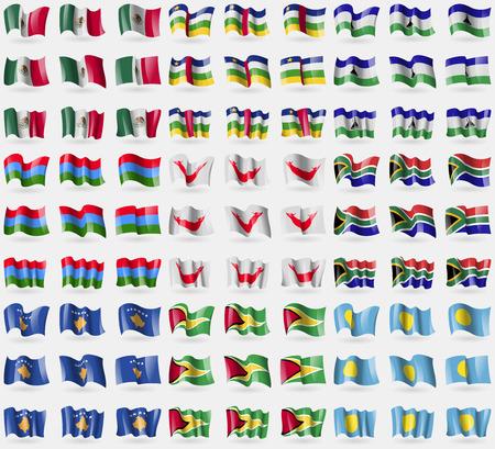 rapa nui: México, República Centroafricana, Lesothe, Karelia, Pascua Rapa Nui, Sudáfrica, Kosovo, Guyana, Palau. Gran conjunto de 81 banderas. Ilustración vectorial Vectores
