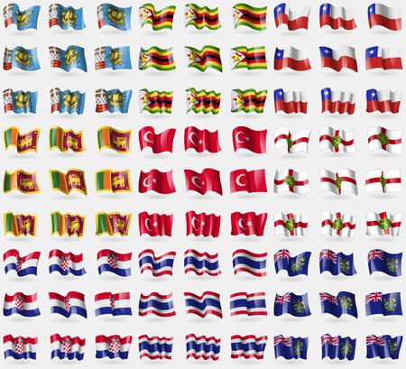 pitcairn: Saint Pierre and Miquelon, Zimbabwe, Chile, Sri Lanka, Turkey, Alderney, Croatia, Thailand, Pitcairn Islands. Big set of 81 flags. Vector illustration Illustration