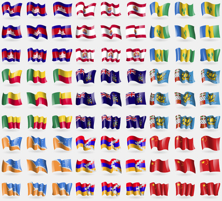 the republic of china: Cambodia, French Polynesia, Saint Vincent and Grenadines, Benin, Georgia and Sandwich, Saint Pierre and Miquelon, Tierra del Fuego Province, Karabakh Republic, China. Big set of 81 flags. Vector illustration