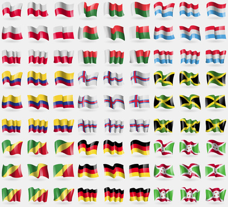republic of colombia: Poland, Madagascar, Luxembourg, Colombia, Faroe Islands, Jamaica, Congo Republic, Germany, Burundi. Big set of 81 flags. Vector illustration