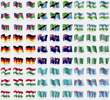 helena: Namibia, Tanzania, Uzbekistan, Germany, Saint Helena, Nigeria, Hungary, Kazakhstan, Fiji. Big set of 81 flags. Vector illustration