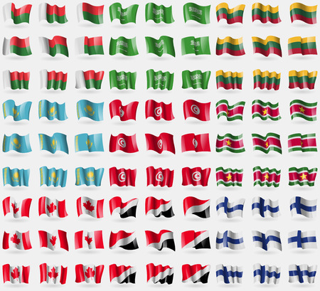 sealand: Madagascar, Saudi Arabia, Lithuania, Kazakhstan, Tunisia, Suridame, Canada, Sealand Principality, Finland. Big set of 81 flags. Vector illustration