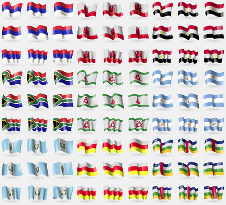 republika: Republika Srpska, Gibraltar, Egypt, South Africa, Ingushetia, Argentina, Guatemala, North Ossetia, Central African Republic. Big set of 81 flags.  illustration Stock Photo