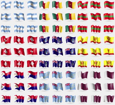 saint martin: Argentina, Cameroon, Transnistria, Switzerland, Tristan da Cunha, Chuvashia, Saint Martin, Tuvalu, Qatar. Big set of 81 flags.  illustration
