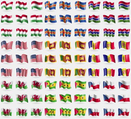 principe: Hugary, Aland, Gambia, EE.UU., Sri Lanka, Andorra, Pa�s de Gales, Santo Tom� y Pr�ncipe, Rep�blica Checa. Gran conjunto de 81 banderas. ilustraci�n Foto de archivo