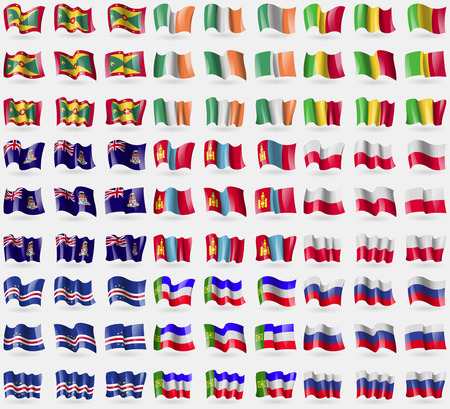 cayman islands: Grenada, Ireland, Mali, Cayman Islands, Mongolia, Poland, Cape Verde, Khakassia, Russia. Big set of 81 flags.  illustration