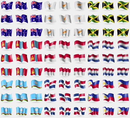 republic dominican: Australia, Cyprus, Jamaica, Mongolia, Indonesia, Netherlands, Sakha Republic, Dominican Republic, Philippines. Big set of 81 flags.  illustration
