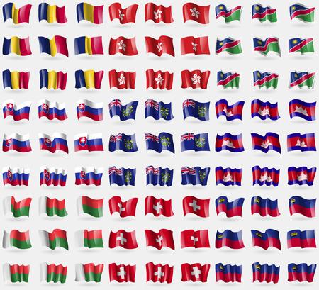 pitcairn: Chad, Hong Kong, Namibia, Slovakia, Pitcairn Islands, Cambodia, Madagascar, Switzerland, Liechtenstein. Big set of 81 flags.  illustration
