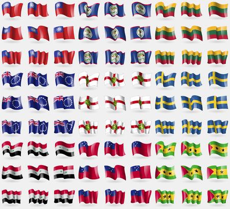 principe: MyanmarBurma, Belice, Lituania, Islas Cook, Alderney, Suecia, Siria, Samoa, Santo Tom� y Pr�ncipe. Gran conjunto de 81 banderas. ilustraci�n