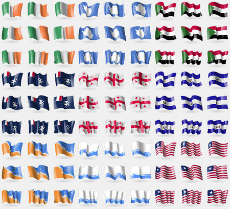 antarctic: Ireland, Antarctica, Sudan, French and Antarctic, Georgia, El Salvador, Tierra del fuego Province, Altai Republic, Liberia. Big set of 81 flags.  illustration Stock Photo